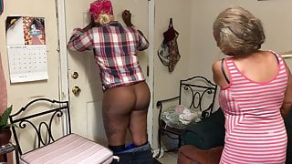 Ebony girl gets spanked in the kitchen
