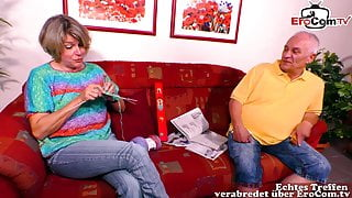 German grandma is horny and does her first porn