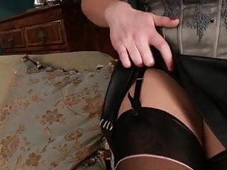 Young busty abi Abi teasing in stockings