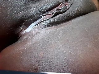 Black pussy close-up Black pussy dripping after cumshot