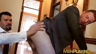 Hung stud pounding his classy business partner balls deep