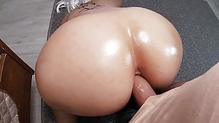 Stepson fucked stepmom in the ass while she was washing the floor