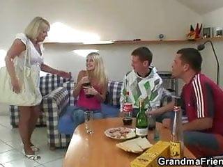 Granny swallows tgp - Blonde old granny swallows two big cocks