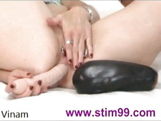 Huge didldo disapears in ass - Fucking huge eggplant in pussy and dildo in ass