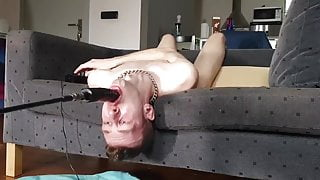 Caged Pup Davey deep throat traing