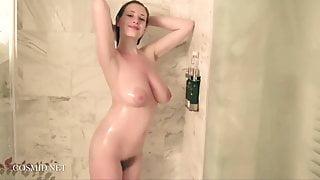 Redhead Misha Lowe's Giant Tits in Shower