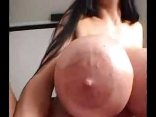 Make fake tits to play with Huge fake tit lady fucks plays with cock for cum