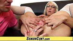 Blonde Euro Milf Marketa fleshy pussy wide open