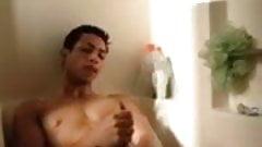 Horny dude jacks in shower