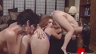 Super horny lesbians dildo drilling their asses in foursome