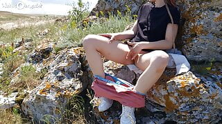 Hot Girl Masturbates her Tight PUSSY near a Public Beach