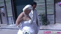 Mature bride sucks and rides bbc
