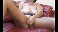 German Mom masturbates until she is interrupted by a visitor