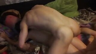 fucks a Russian woman with her husband and ends up on her ba