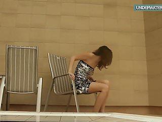 Teen gets strawberry swirl - Loris blackhaired teen swirling in the pool