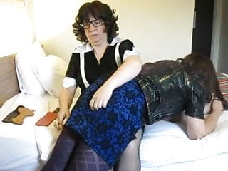 Bikini transvestite French maid gives transvestite a hard otk spanking