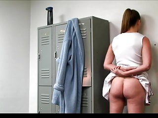 Cheerleader fucks locker room Cheerleader alyssa spanked in the locker room full-edit.