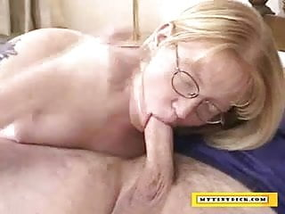 Wife sucking a small cock - Mature blonde sucking on a small cock
