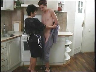 The russian amateur - Mature mom and her boy in the kitchen russian amateur
