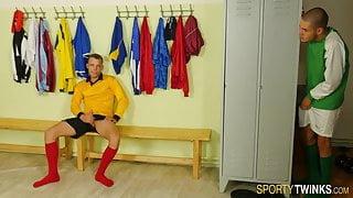 Sporty twinks in locker room give head