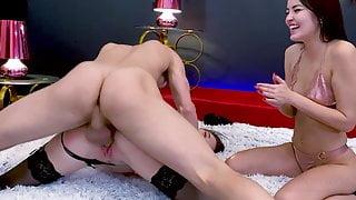 2 Amateur Teens Give Big Dick Handjob In Homemade Threesome
