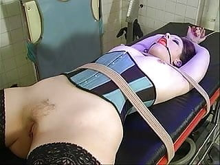 Shaved bound fishnet ankle straps Small tits brunette strapped and bound for bdsm