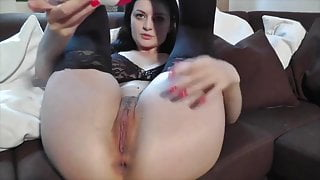 GIANT black dildo for her tight nasty pussy