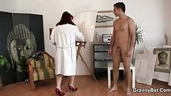 Mature woman jumps on his cock