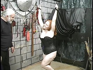 Arms up big tits - Curvy red head gets arms bound above her head