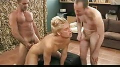 Muscle dad and two guys