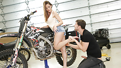 Biker girl enjoys foot fetish sex