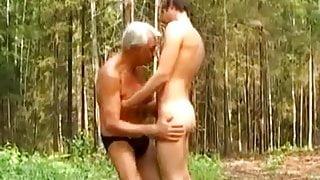Slim grandpa sucking & getting fucked outdoors