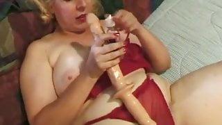 Jamie Monroe masturbating with long dildo