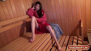 Skinny Russian sucks old cock in the sauna