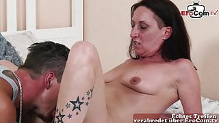 Ugly German lonely housewife seduced by neighbor