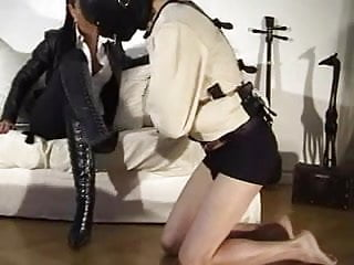 Fetish masturbate in her jacket Boot worship in straight jacket