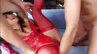 Wild DP in latex lingerie