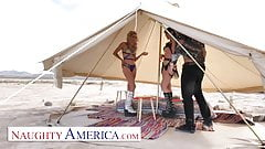 Naughty America - Strangers meet in the desert 4 3some