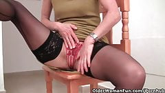 Granny In Stockings Works Her Hairy Pussy With A Dildo - Re