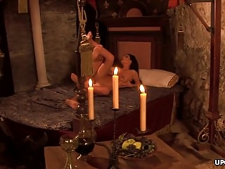Both came in her pussy tube - As the brunette rode him to his completion he came in her mo