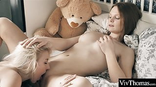 Hot teens lick and suck each other's clits before grinding to orgasm