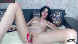 charming brunette and her open pussy
