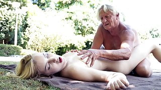 Foreign college student rides grandpa's cock and sucks it well