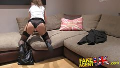 Fake Agent UK Euro babes peachy arse fingered and fucked in