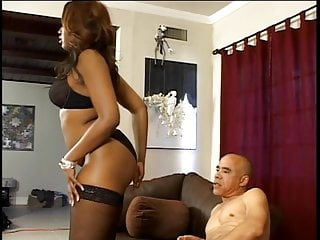 Sexy c string - Sexy curvy c-cup black babe in thigh-highs kneels to give dude expert handjob