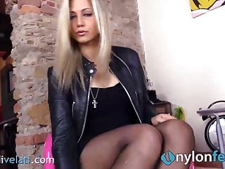 Girl in leather skirt fucking Stunning blonde in leather skirt and pantyhose shows ass and