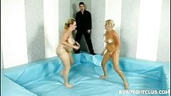 Hot BBW blondes wrestling naked and covered in body oil