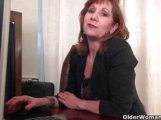 American office porn Office granny in pantyhose works her old pussy
