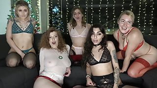 A group of girls show their naked bodies to the camera