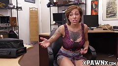 Kinky brunette fucked bareback by thick cock pawnshop owner